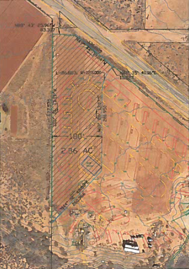 Map showing part of the Graf property to be rezoned from residential and agricultural to RV resort. Shaded area shows 180-foot transition zone, Ivins, Utah   Image courtesy of Ivins City Council