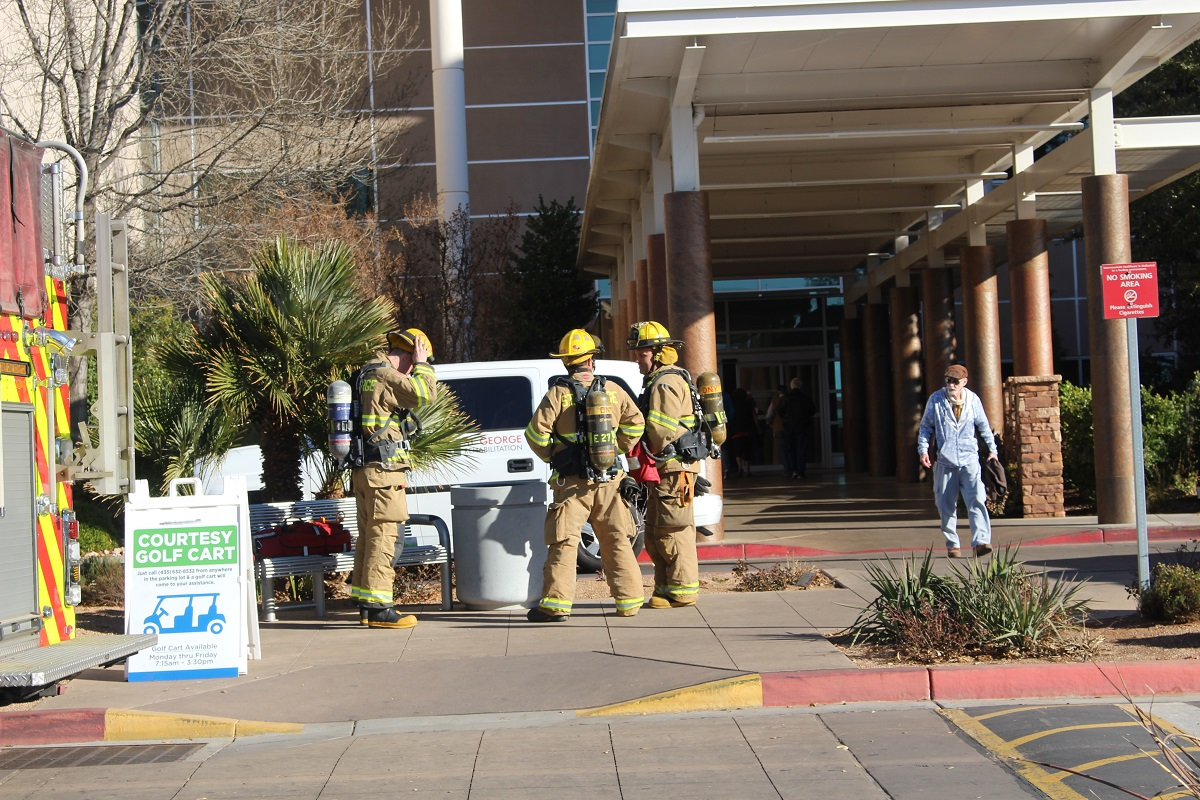 Firefighters and hazardous materials technicians respond to a small chemical spill at Dixie Regional Medical Center Thursday afternoon, St. George, Utah, Dec. 29, 2016 | Photo by Cody Blowers, St. George News