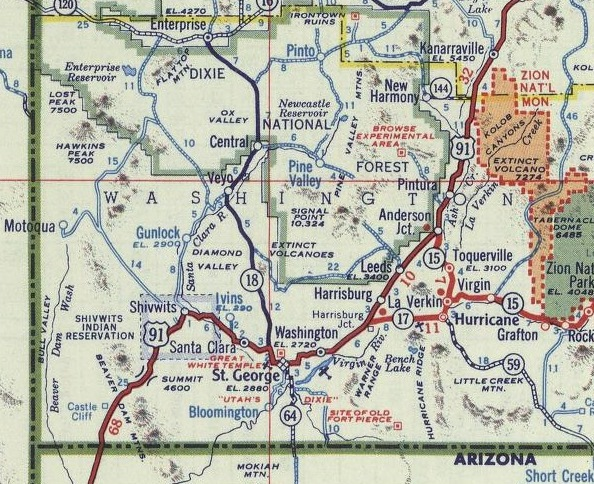 Historic map of what is now old Highway 91 in Washington County, undated | Image courtesy of Washington County Historical Society, St. George News