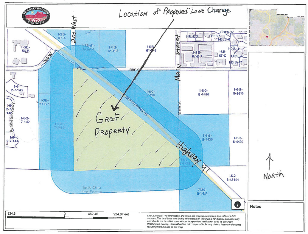 A map shows a proposed Zone Change of 24.52 acres from Residential/Agricultural to RV Resort located on the south side of Highway 91 at approximately 100 West, Ivins, Utah | Map courtesy of Ivins City Council, St. George News