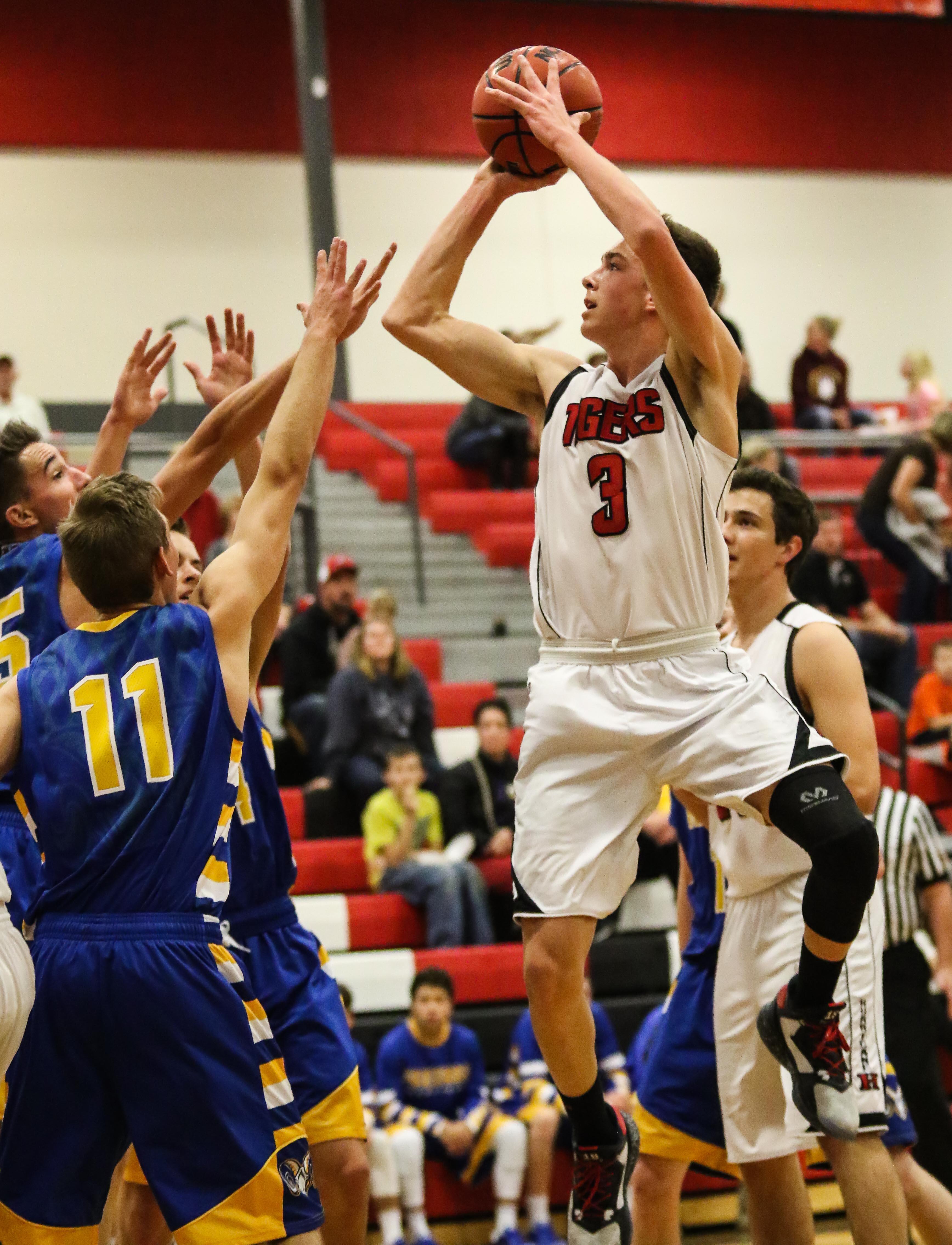 Hurricane's Jackson Last (3), Hurricane vs Parowan, Boy's Basketball, St. George, Utah, Dec, 20, 2016, | Photo by Kevin Luthy, St. George News