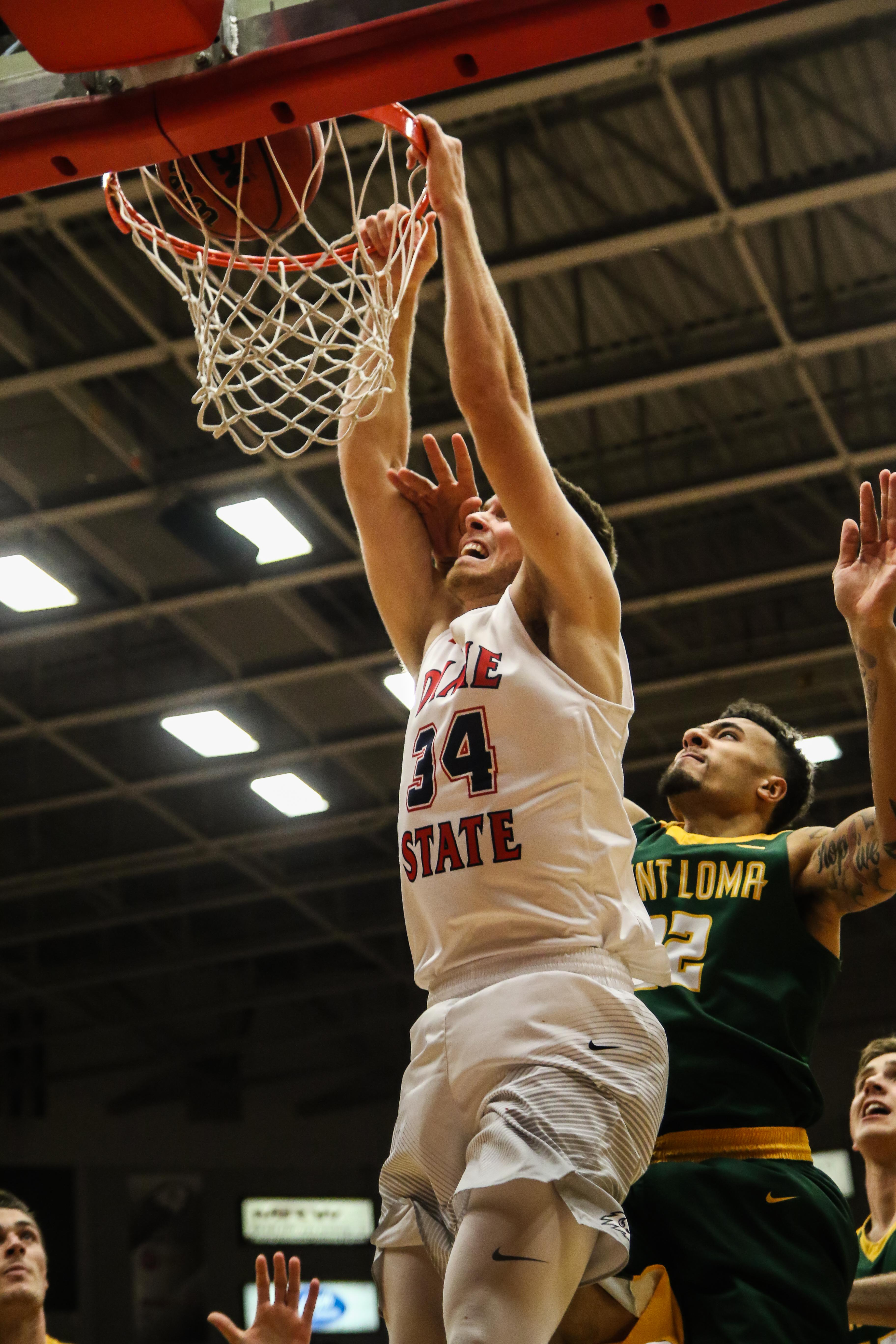 Dixie State's Zac Hunter (34), Dixie State University vs Point Loma Nazarene  University, Men's Basketball, St. George, Utah, Dec. 19, 2016, | Photo by Kevin Luthy, St. George News