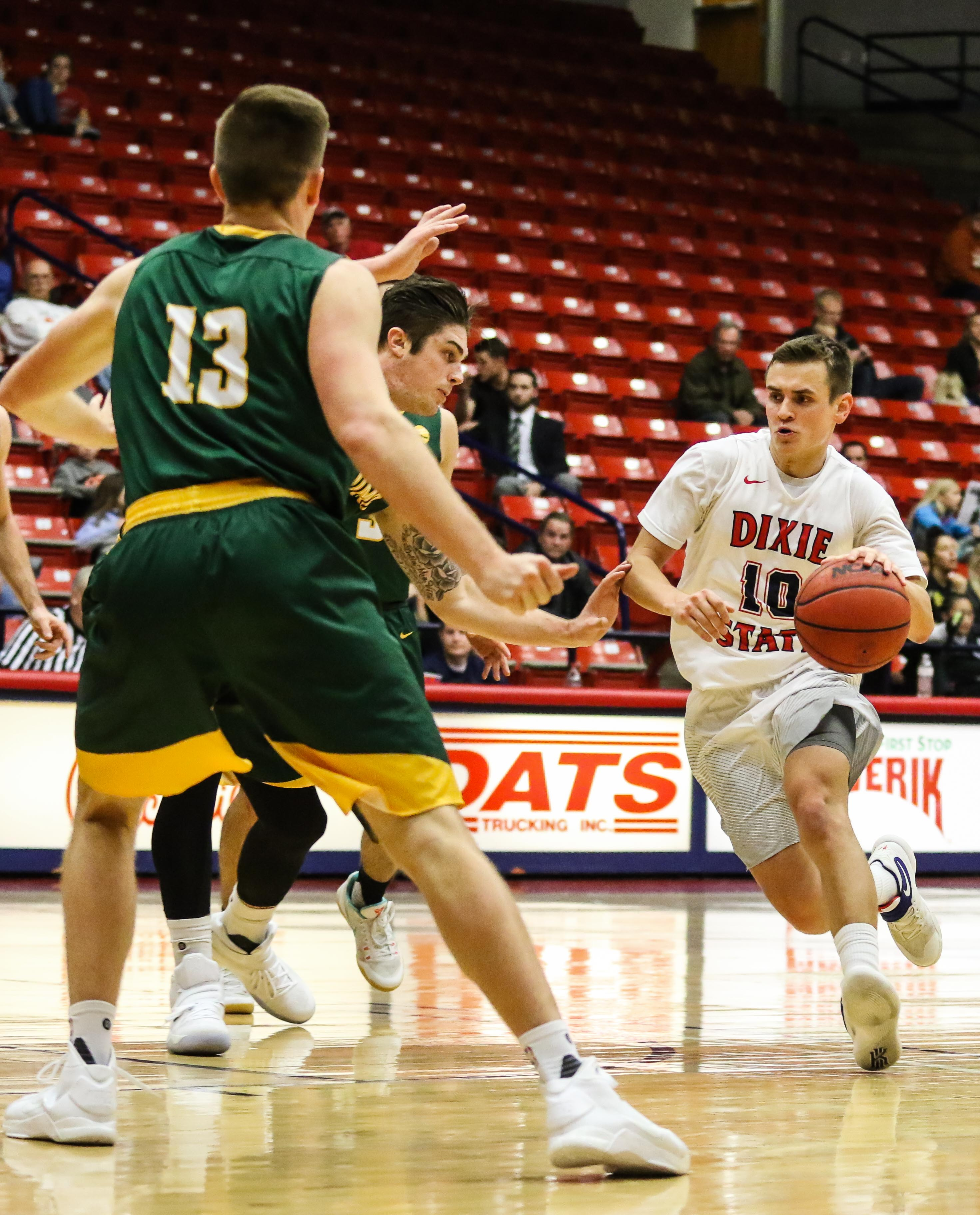 Dixie State's Brandon Simister (10), Dixie State University vs Point Loma Nazarene  University, Men's Basketball, St. George, Utah, Dec. 19, 2016, | Photo by Kevin Luthy, St. George News