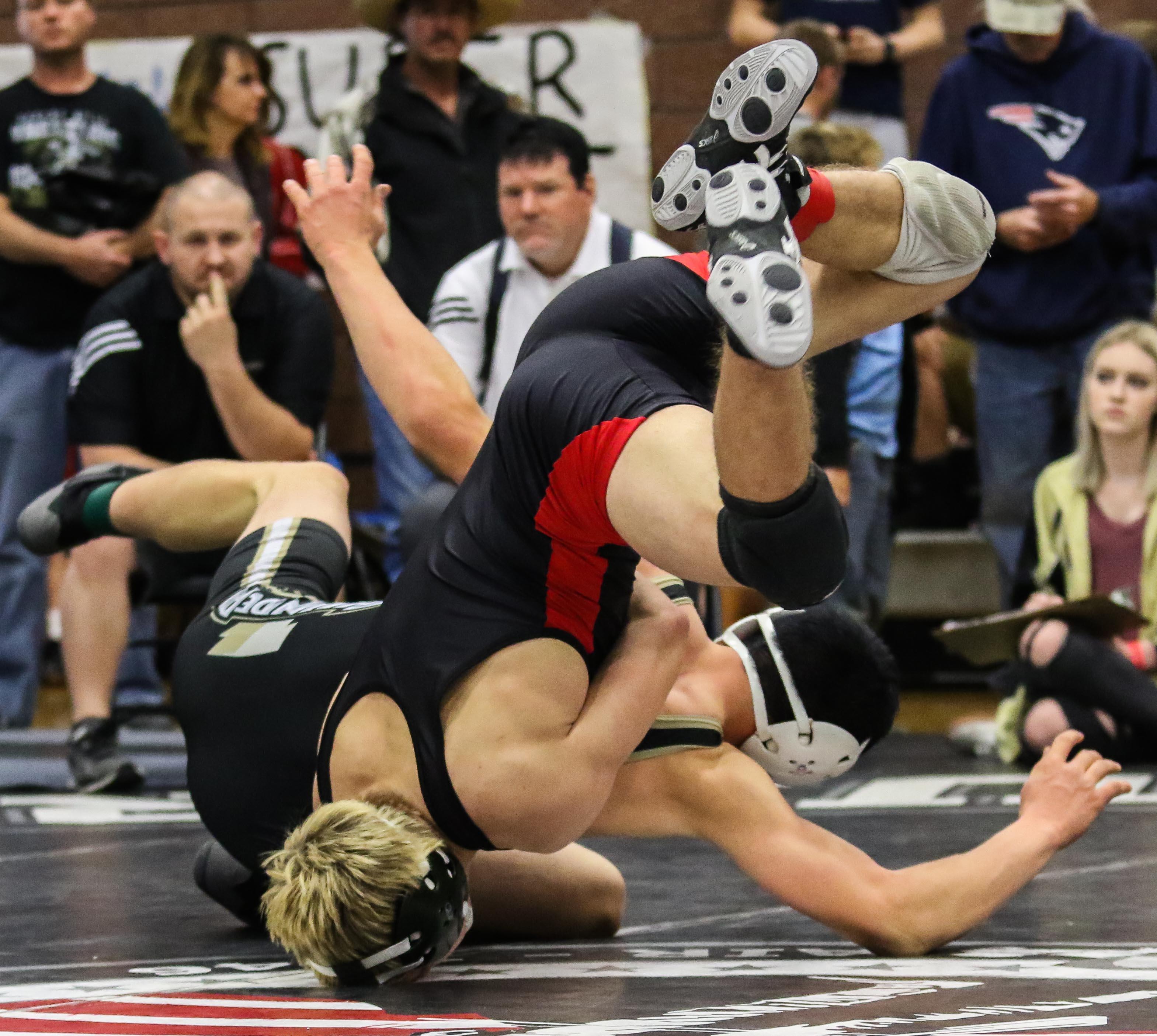 Desert Hills' Brady Jones (black), Desert Storm Tournament, Wrestling, St. George, Utah, Dec. 17, 2016, | Photo by Kevin Luthy, St. George News