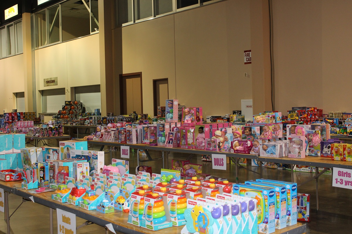 Thousaands of toys waiting to be wrapped at the Dixie Center St. Georg for Kony Coins for Kids Thursday morning, St. George, Utah, Dec. 15, 2016 | Photo by Cody Blowers, St. George News