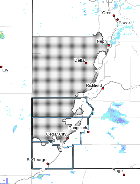 Dots indicate the area subject to the High Wind Warning, 10:07 a.m., Southern Utah, Dec. 15, 2016 | Photo courtesy of National Weather Service, St. George News | Click image to enlarge