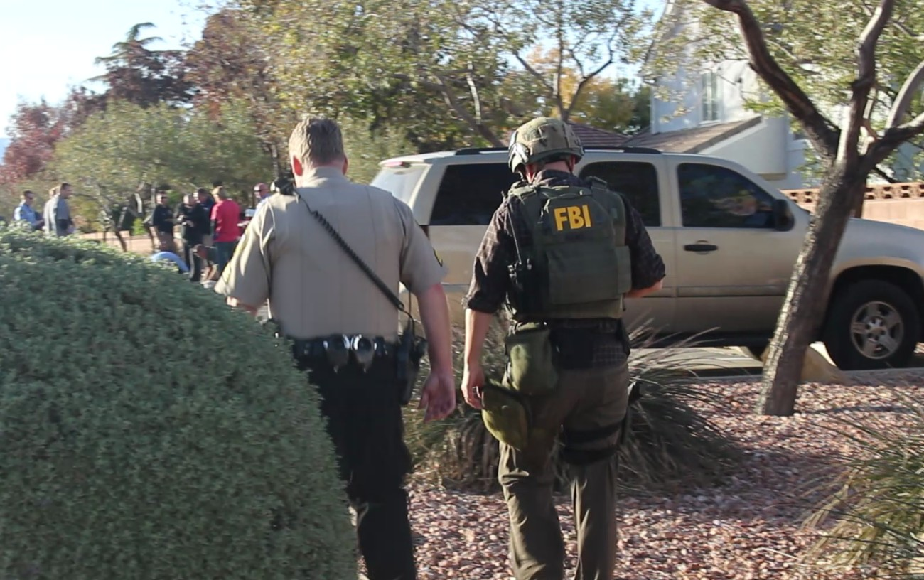 The FBI, Washington County Sheriff's Office and St. George Police Department participated in a manhunt for David Temples, a fugitive wanted by the FBI on a warrant out of Las Vegas. He led police agencies on a chase through a part of St. George until turning into a church parking lot on River Road and crashing into a cinder block wall. He fled the scene on foot and was ultimately apprehending without incident, St. George, Utah, Dec. 8, 2016   Photo by Mori Kessler, St. George News