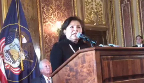 San Juan County Commissioner Rebecca Benally said her constituents do no want another monument in Utah, Salt Lake City, Utah, Dec. 17, 2016 | Photo courtesy of the office of Sen. Orrin Hatch, St. George News