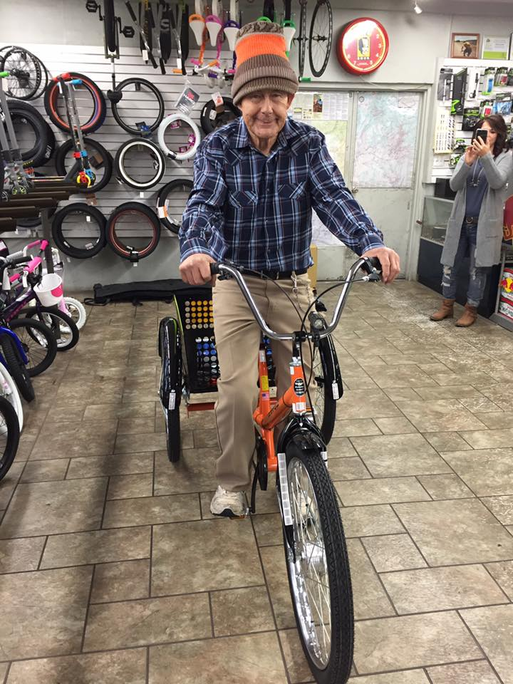 Pearson Davis smiles as he receives his new industrial tricycle, St. George, Utah, Dec. 22, 2016 | Photo courtesy of Bicycles Unlimited, St. George News