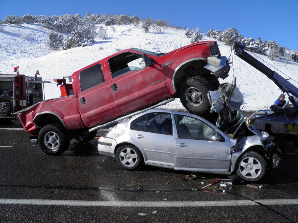 Multiple Car Crash In The Snow
