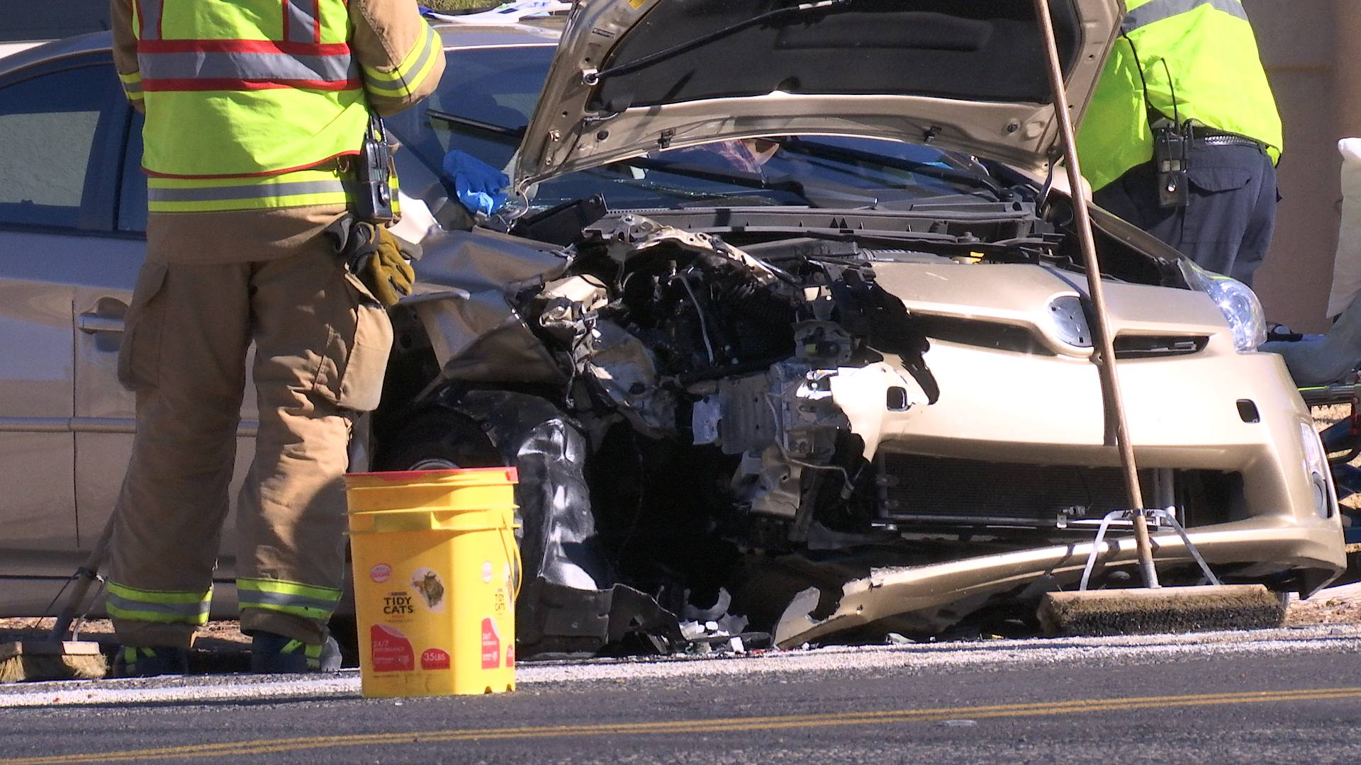 A gold Prius sits on the side of the road after a collision on Bloomington Dr. S. Saturday morning that severely damaged two cars and one driver was taken to the hospital. St. George, Utah, December 3, 2016 | Photo by Sheldon Demke, St. George News