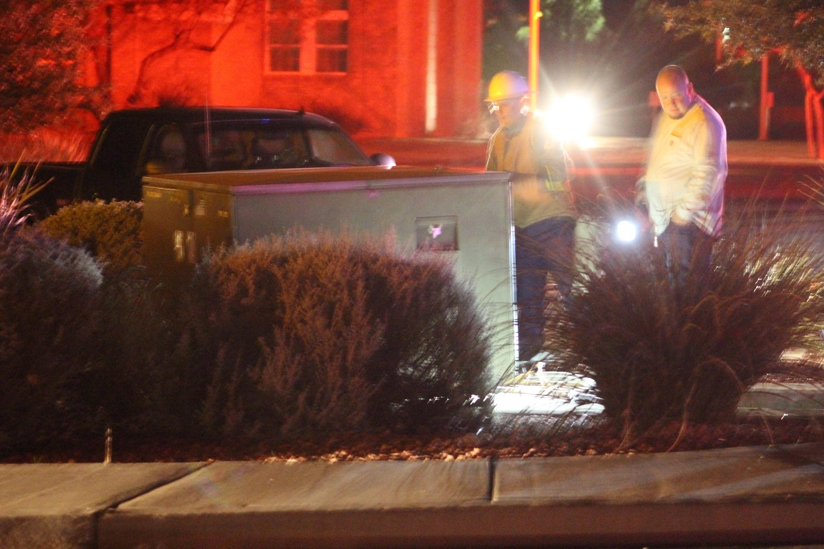Work crews arrive to repair damaged transformer after two-car collision that was caused when a woman ran a stop sign Wedesday evening in St. George, Utah, Dec. 7, 2016 | Photo by Cody Blowers, St. George News