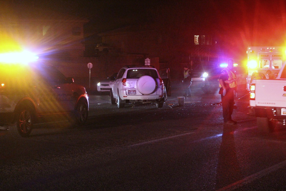 White Rav4 in the middle of E. Riverside Drive after two-car collision that was caused when a woman ran a stop sign Wedesday evening in St. George, Utah, Dec. 7, 2016 | Photo by Cody Blowers, St. George News