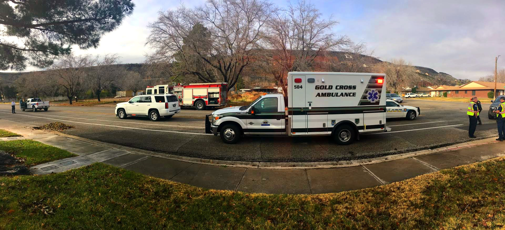 Gold Cross Ambulance responds to the t-bone crash on W. 100 South and S. 300 West Friday morning that involved two vehicles that resulted in no serious injuries, St. George, Utah, Dec. 23, 2016 | Photo by Brett Barrett, St. George News