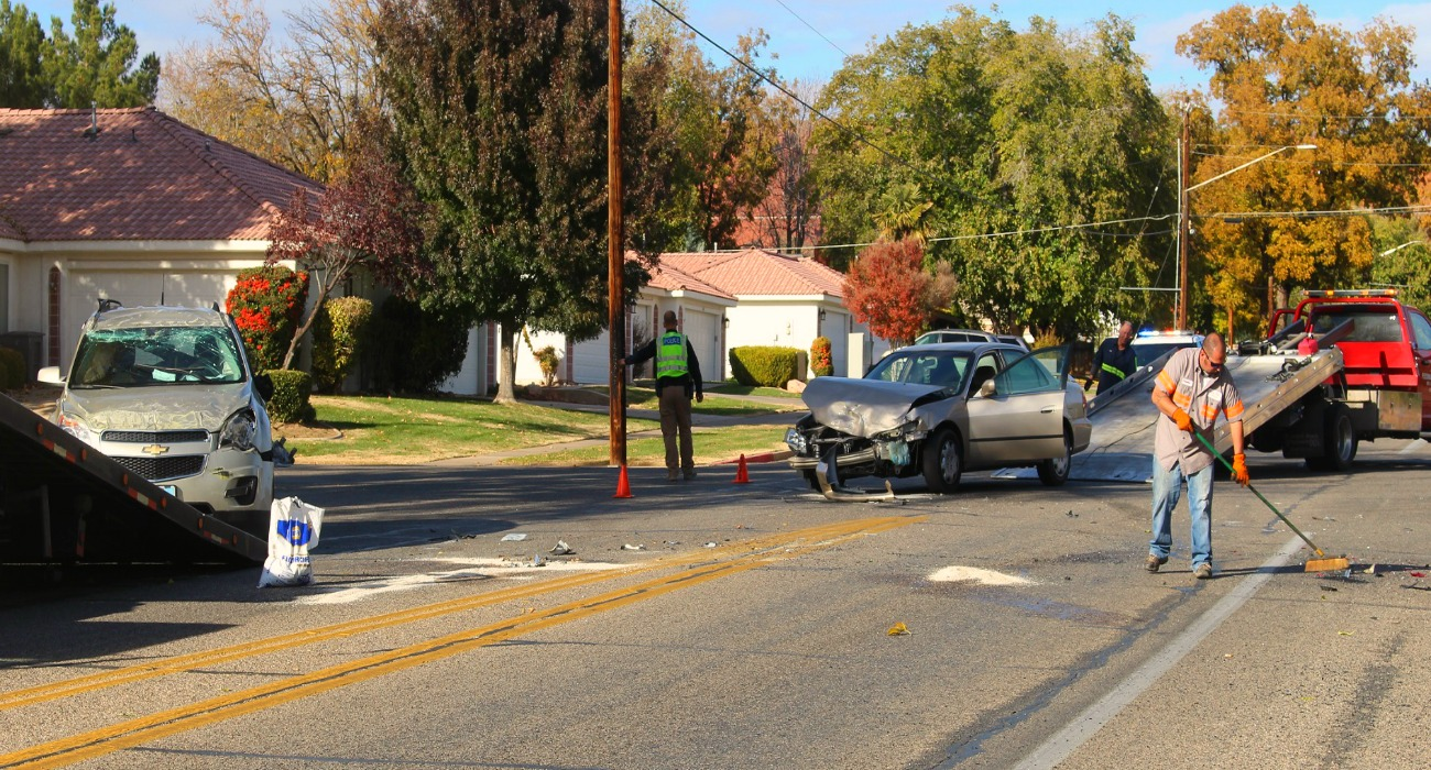 The Gold Equinox and Honda Accord sustained extensive damage after three-car collision on S. Main Street that ended in a rollover, St. George, Utah, Dec. 1, 2016 | Photo by Cody Blowers, St. George News