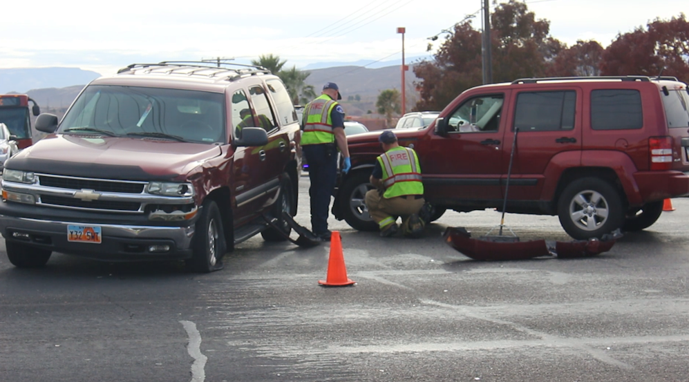 A maroon Jeep crashed into a maroon Chevrolet Tahoe in the intersection of N. Dixie Downs Road and W. Sunset Boulevard Friday afternoon, St. George, Utah, Dec. 9, 2016 | Photo by Mike Cole, St. George News