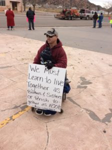Terrill Musser protests at a civil rights rally in Colorado City, Arizona, Jan. 23, 2016 | Photo by Cami Cox Jim, St. George News