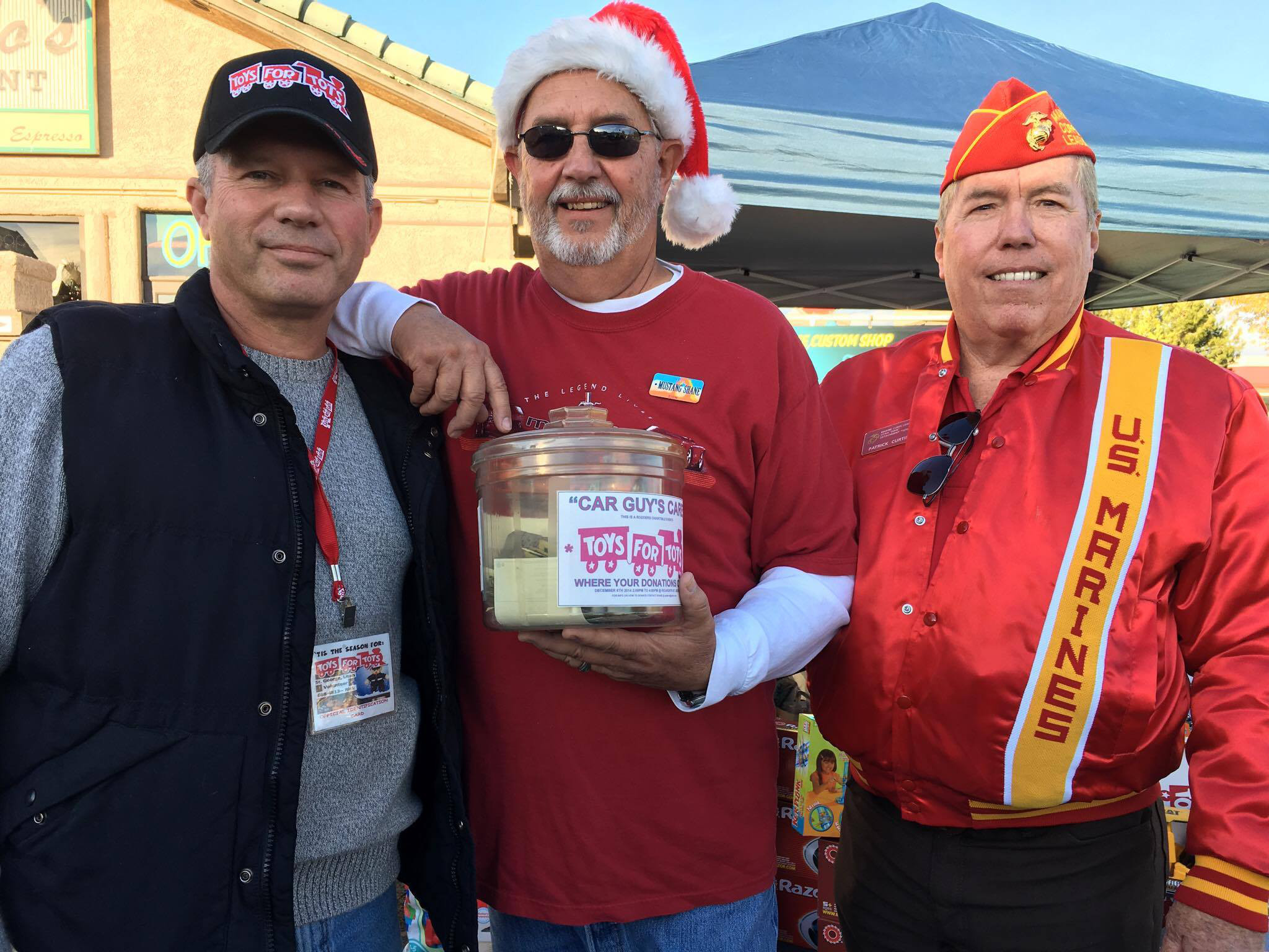 L-R: Rick Massey, Southern Utah Toys for Tots coordinator; Shane Dastrup, president of the Southern Utah Mustang Owners Association; Patrick Curtis, St. George, Utah, Dec. 10, 2016 | Photo by Sheldon Demke, St. George News