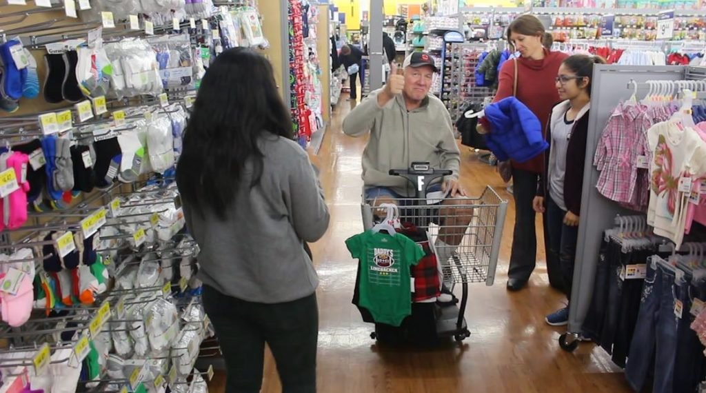 "Residents of the Southern Utah Veterans Home join Washington County students at the Bloomington Wal-Mart to ""Shop With a Veteran"" for children in need, St. George, Utah, Dec. 5, 2016 