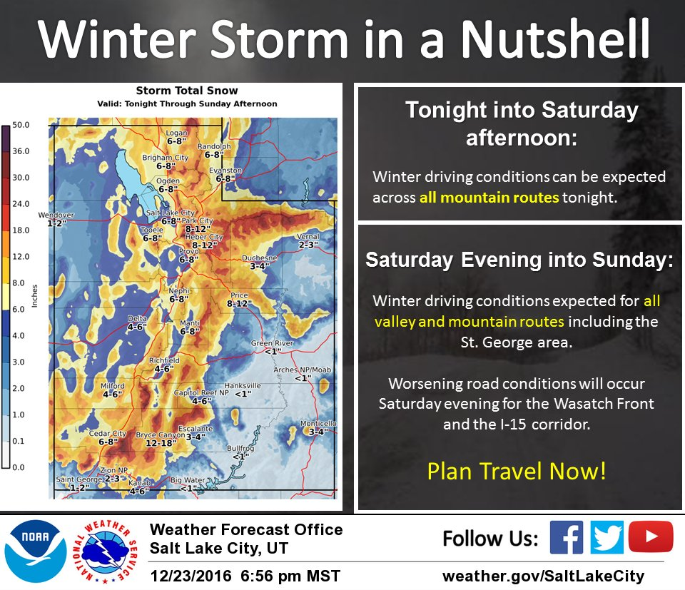 A winter storm will bring hazardous weather conditions up and down the state Friday evening through early Monday, Dec. 23, 2016   Image courtesy of UDOT/Weathernet LLC, St. George News