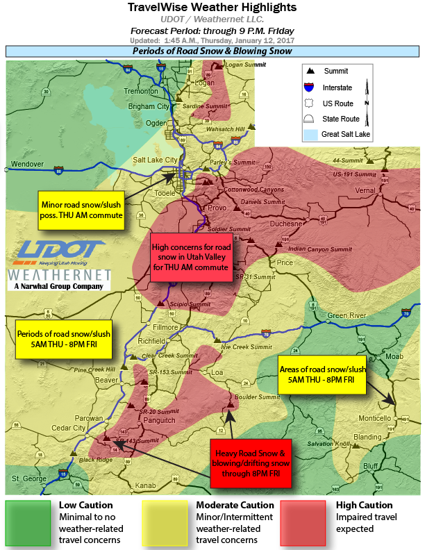 TravelWise weather highlights issued at 1:45 a.m. Thursday by Utah Department of Transportation, Utah, Jan. 12, 2017 | Image courtesy of UDOT, St. George News | Click on image to enlarge