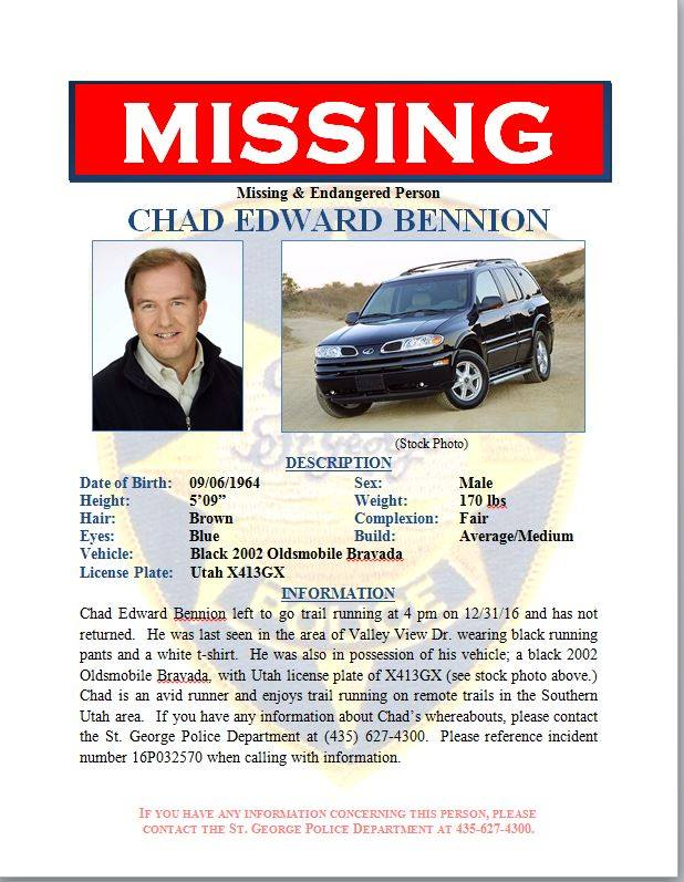 Chad Bennion was last seen Saturday at about 4 p.m. in the area of Valley View Drive, St. George, Utah, Jan 1, 2017 | Image courtesy of St. George Police Department, St. George News
