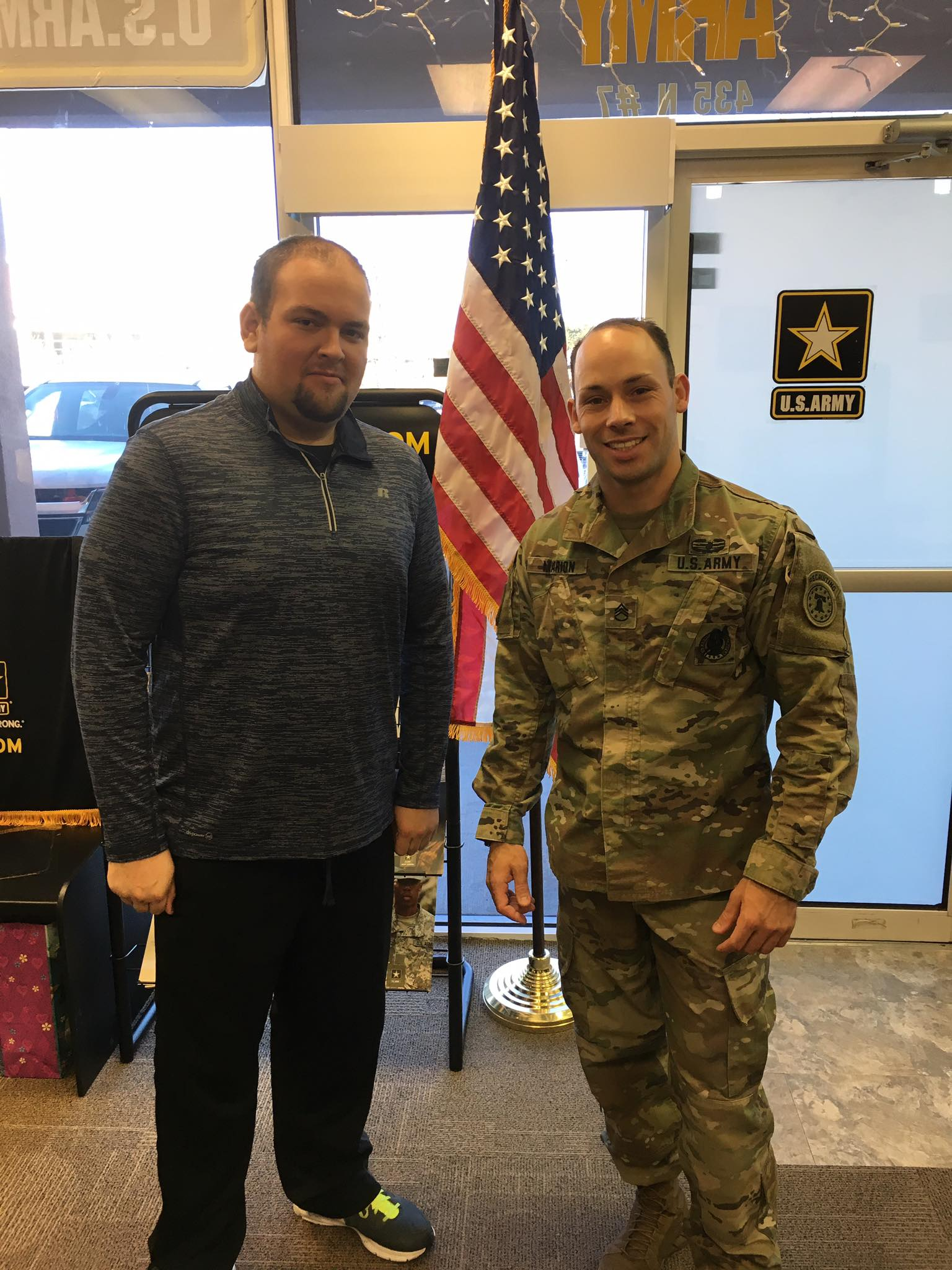 L-R: James Brotherton and Staff Sgt. Joshua Marion pose for a photo at the Army recruiting office. Brotherton enlisted after losing over 220 pounds, St. George, Utah, December, 2016 | Photo courtesy of Joshua Marion, St. George News