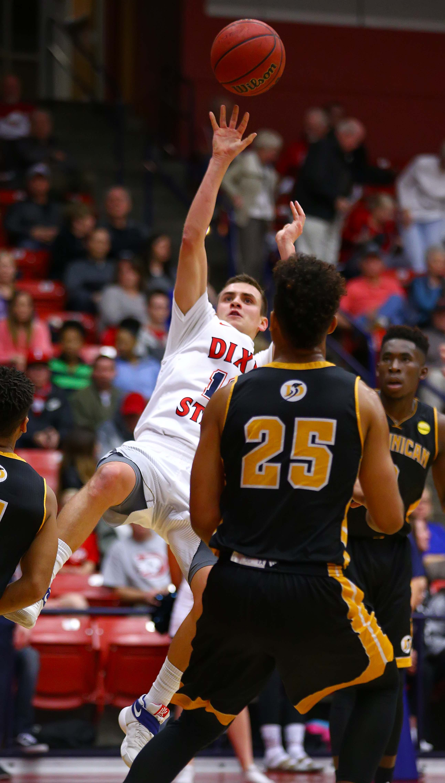 Dixie State's Brandon Simister (10), Dixie State University vs. Dominican University of California, Men's Basketball, St. George, Utah, Jan. 11, 2017, | Photo by Robert Hoppie, ASPpix.com, St. George News