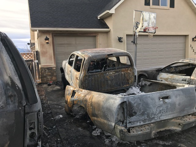 A man was arrested for arson after police said several vehicles were intentionally set on fire in Cedar City, Utah, early Tuesday, Jan. 10, 2017 | Photo courtesy of Cedar City Police Sgt. Jerry Womack, St. George News / Cedar City News