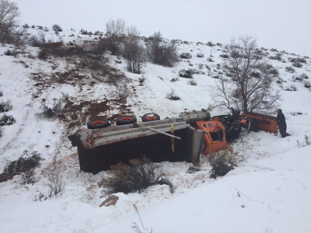 Utah: Truck hits snowplow, sending it down 300-foot embankment