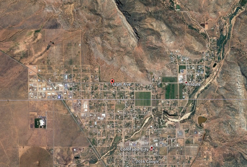 The twin cities of Hildale and Colorado City, Arizona, lie at the base of mountains | Image courtesy of Google Maps, St. George News