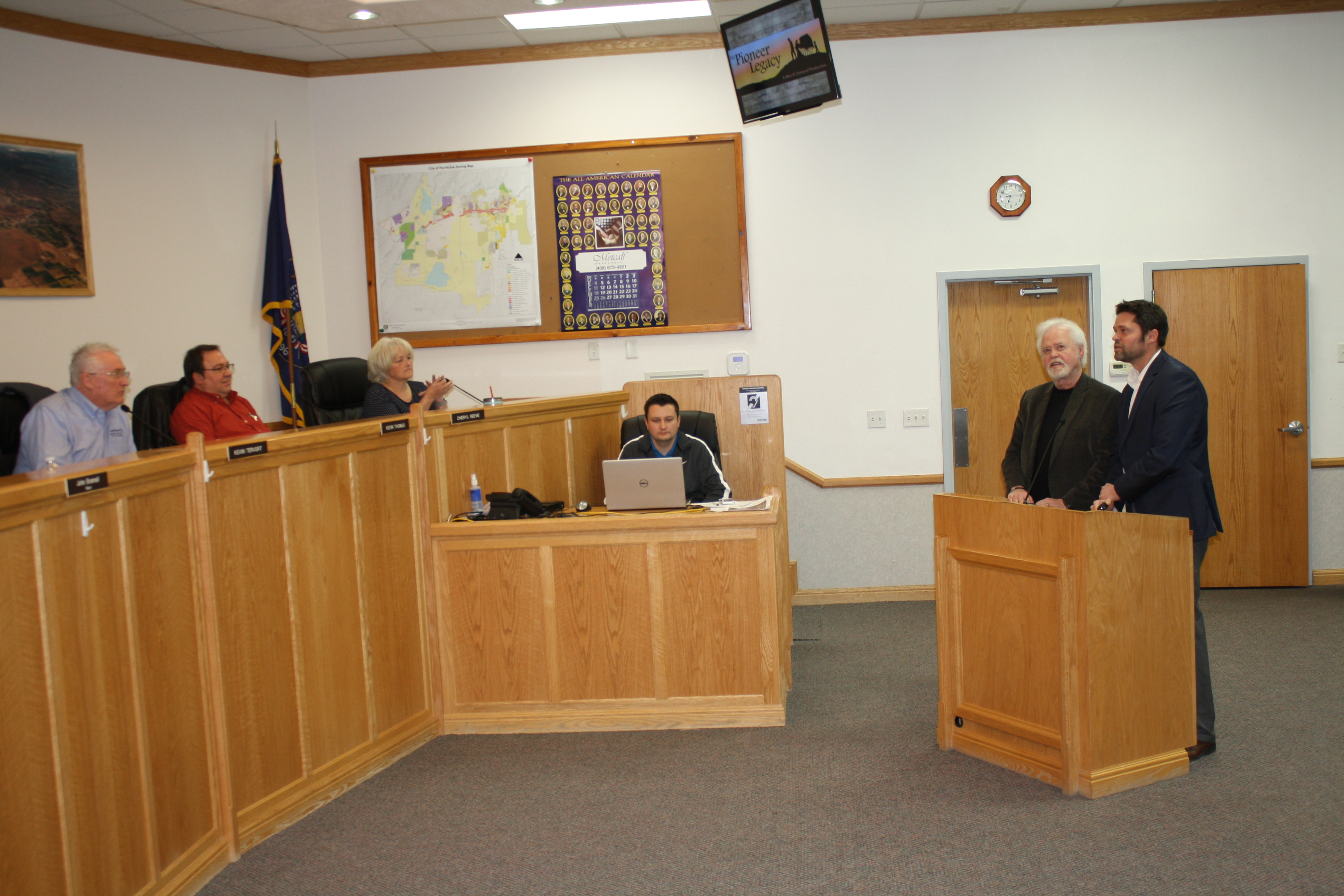 Merrill (left) and Justin (right) Osmond, take the podium to gain the Hurricane City Council's support of their upcoming Pioneer Day Pageant, Hurricane City Offices, Hurricane, Utah, Jan. 5, 2017 | Photo by Reuben Wadsworth
