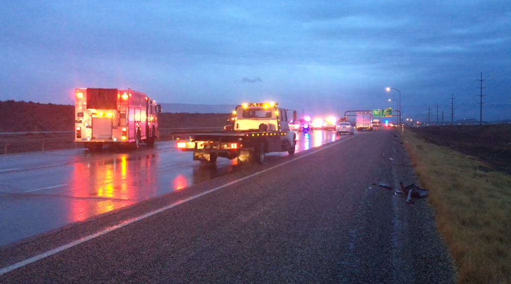 Emergency vehicles respond to a multi-vehicle crash on Interstate 15, St. George, Utah, Jan. 9, 2017   Photo by Mike Cole, St. George News