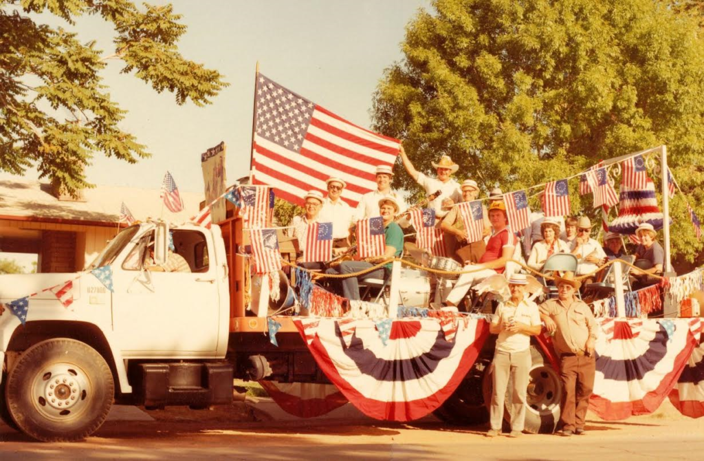 The 'serenade truck' also known as the 'granny wagon' carries the Nisson Band and others throughout Washington City to celebrate Independence Day, Washington City, Utah, date not specified | Photo courtesy of Kelly Kendall