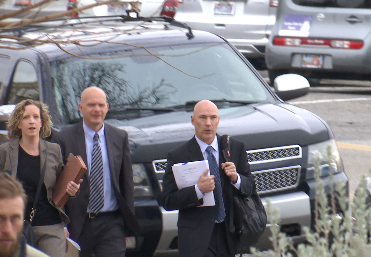 Assistant U.S. Attorney Robert Lund (right) arriving at the courthouse Wednesday morning, St. George, Utah, Jan. 4, 2017 | Photo by Sheldon Demke, St. George News