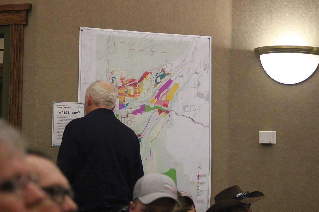 A Washington City resident eyes a map of the city's general plan as it is discussed during a City Council meeting, Washington City, Jan. 11, 2017   Photo by Mori Kessler, St. George News