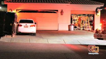 Both Garage Doors Were Damaged And One Door Was Completely Blown Out After  An Explosion Set Off A Small Fire In The Garage Of A Home Near Little  Valley Road ...