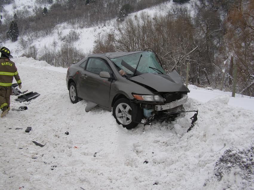 A Hyundai passenger car crosses median on SR-91 into oncoming traffic and a woman dies when her gray Honda is struck near the driver's side door Saturday evening, Box Elder County, Utah, Jan. 7, 2017 | Photo courtesy of Utah Highway Patrol, St. George News.