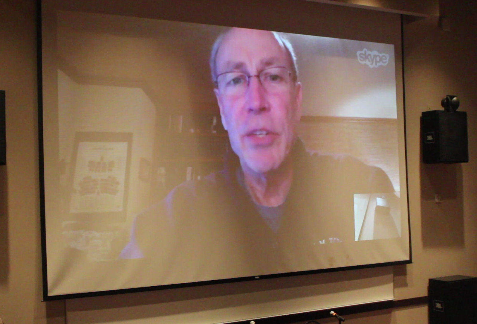 Utah Rep. Merrill Nelson, R-Grantsville, speaks to a group of about 30 people, including some fellow legislators, via Skype about a movement supported a call for a convention of states to amend the constitution with the purpose of limiting federal power. Nelson has introduced a resolution supporting the call of a convention to be addressed in the upcoming 2017 legislative session, St. George, Utah, Jan, 9, 2016 | Photo by Mori Kessler, St. George News