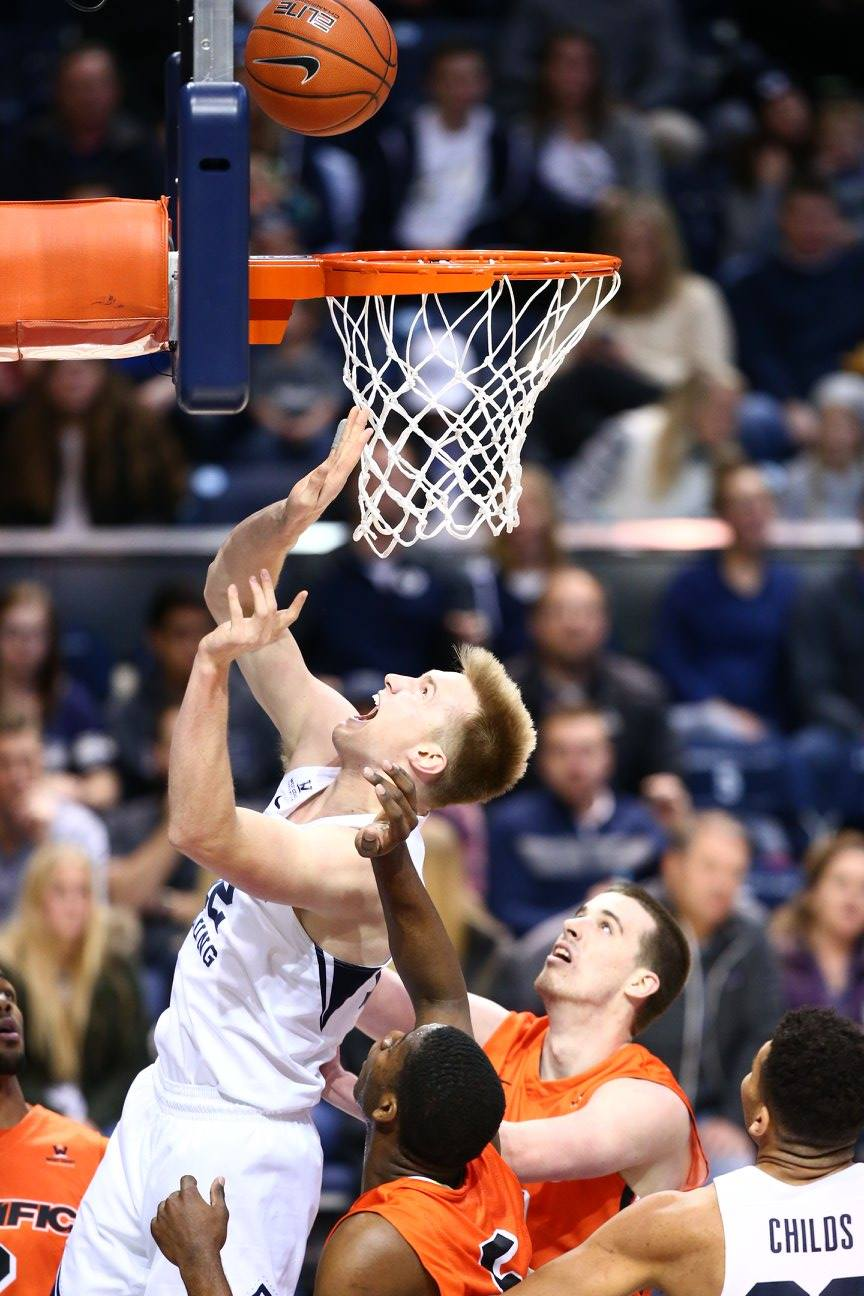 Eric Mika, BYU vs. Pacific, Provo, Utah, Jan. 7, 2016 | Photo by BYU Photo