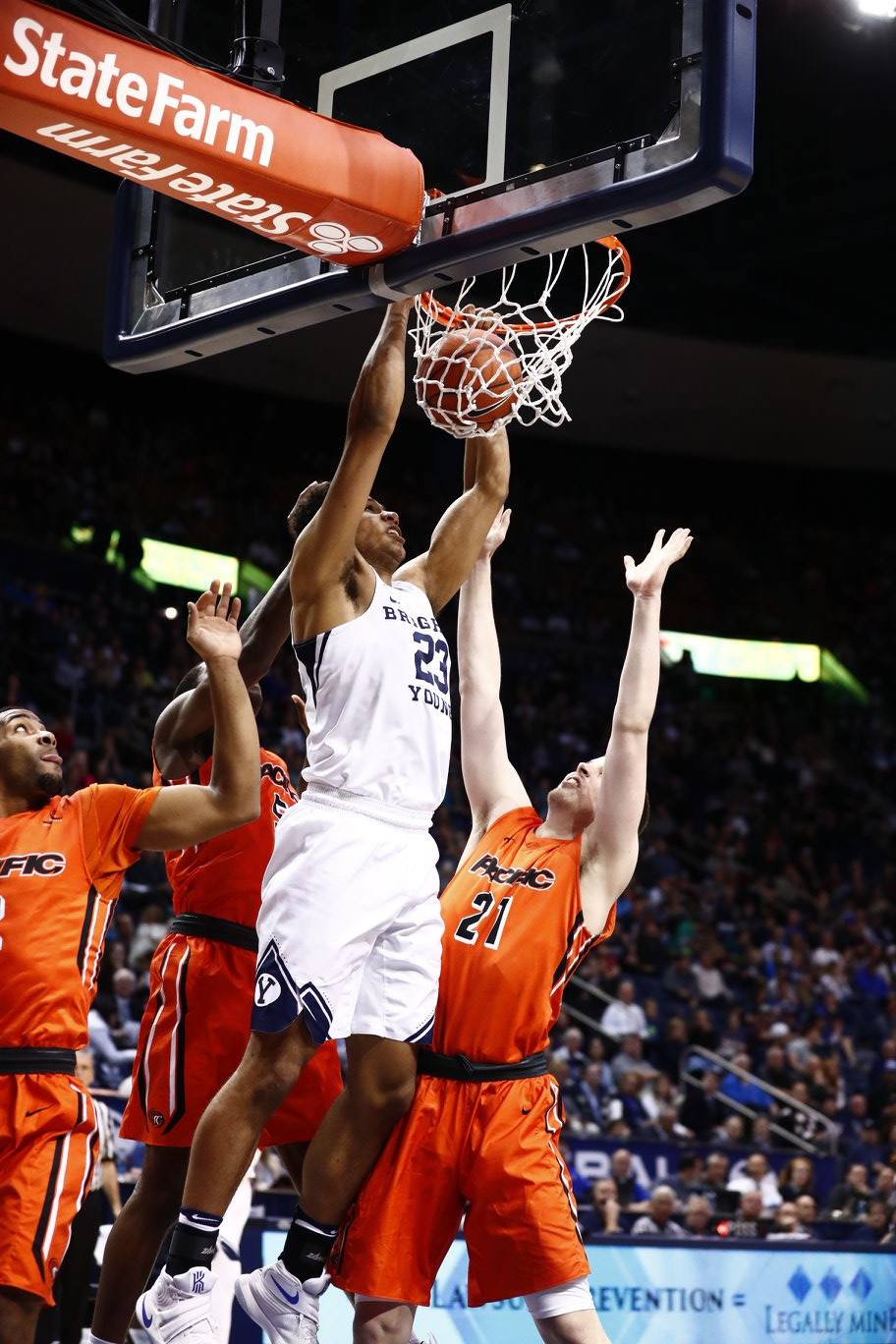 Yoeli Childs, BYU vs. Pacific, Provo, Utah, Jan. 7, 2016 | Photo by BYU Photo