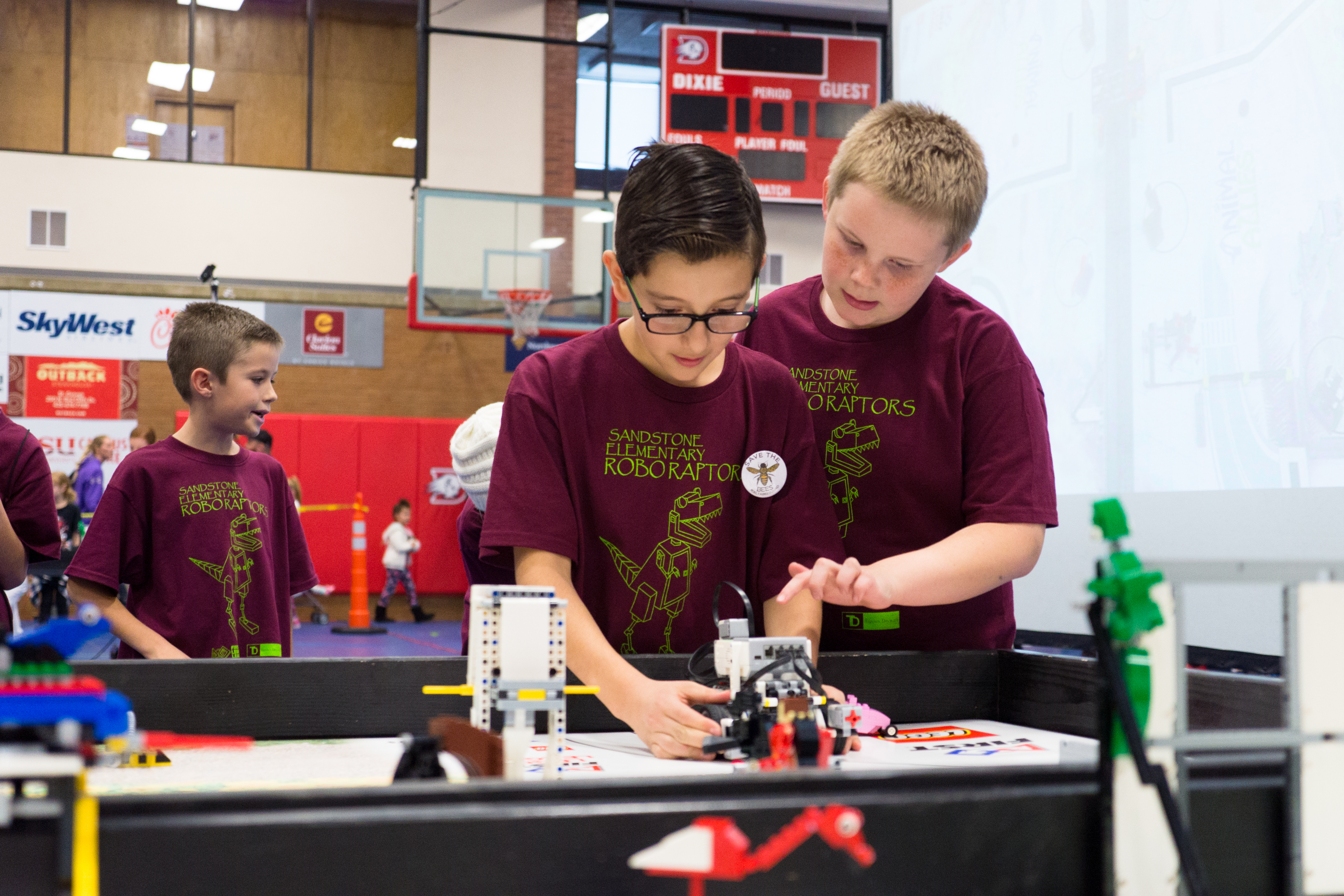 Sandstone Elementary's RoboRaptors compete at the First Lego League competition, Dixie State University, St. George, Utah, Jan. 7, 2017 | Photo by and courtesy of Sterling Jones, St. George News