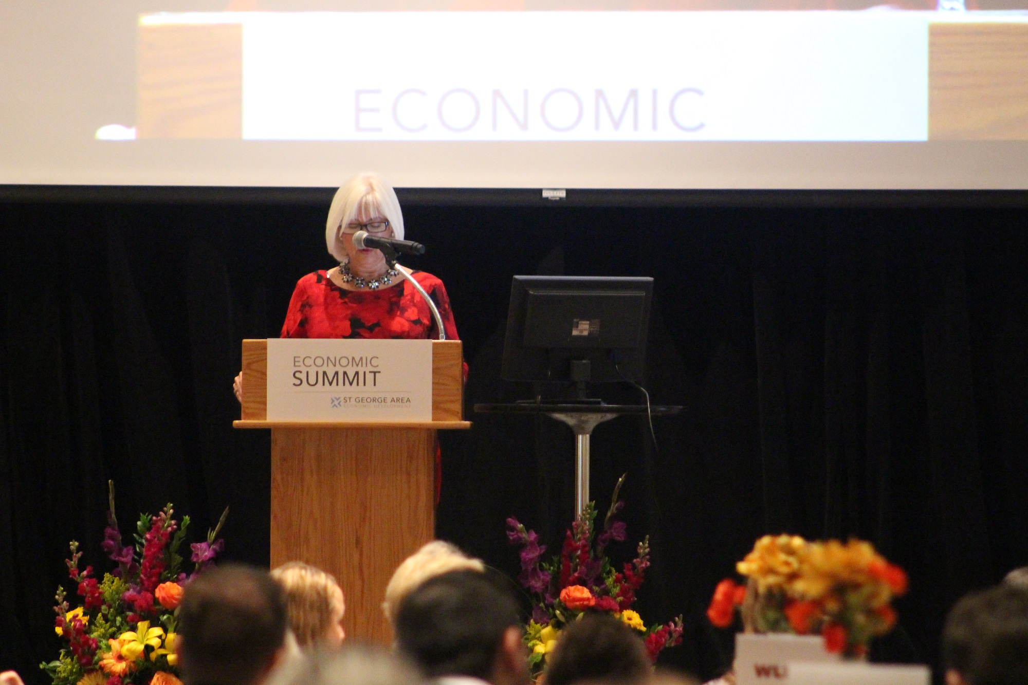 "Opening speaker, Patricia Jones, addressed women and leadership values stressing the importance of businesses supporting growth and training at the 2017 ""St. George Area Economic Summit"" held at Dixie Center St. George Thursday morning, St. George, Utah, Jan. 12, 2017 