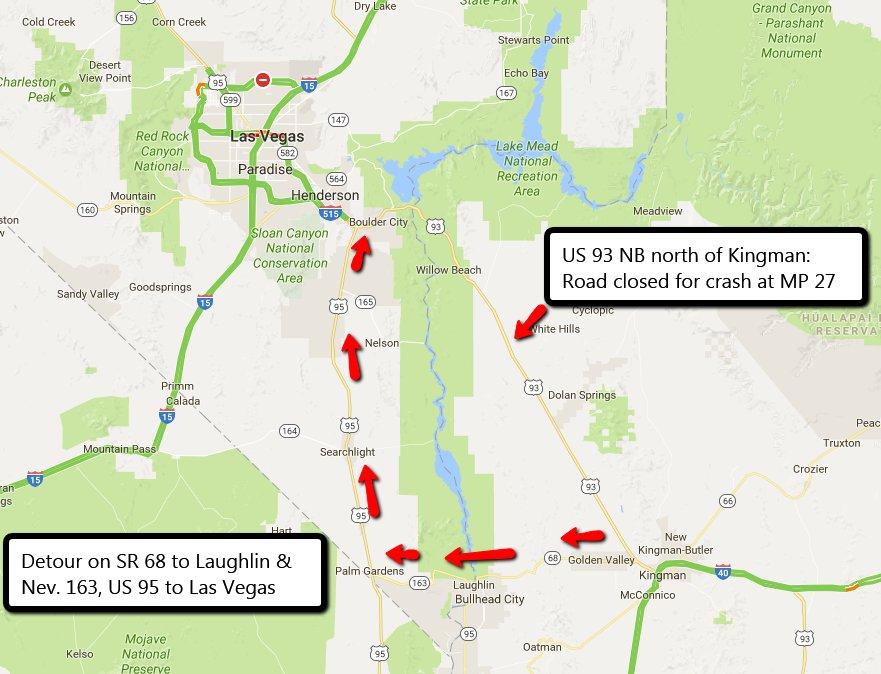 8 Vehicle Crash Kills 2 Injures 3 Closes Road St George News - Us-93-arizona-map