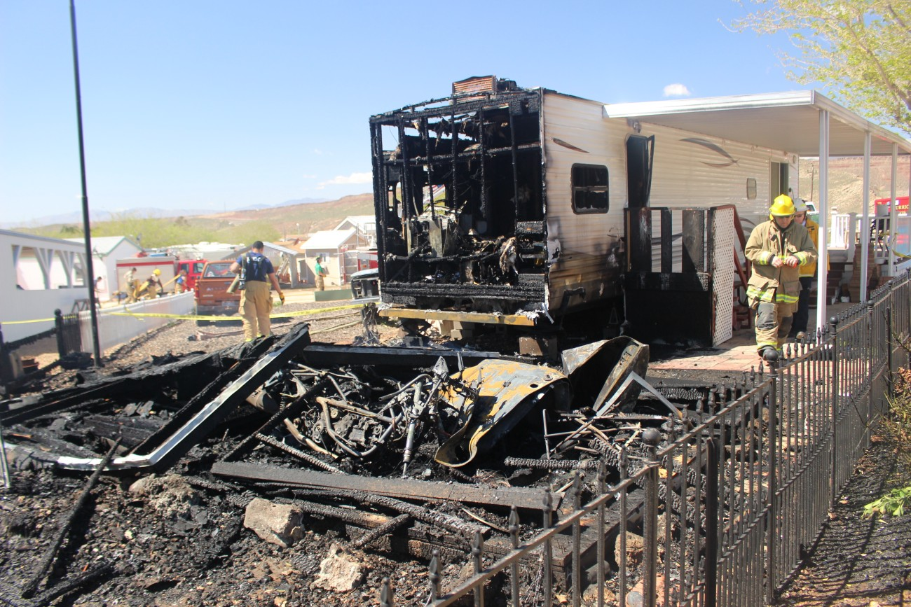 Hurricane Valley Fire And Rescue Personnel Responded To A At The Zion Gate RV Park That Burnt Shed Ground Torched Part Of Trailer Home