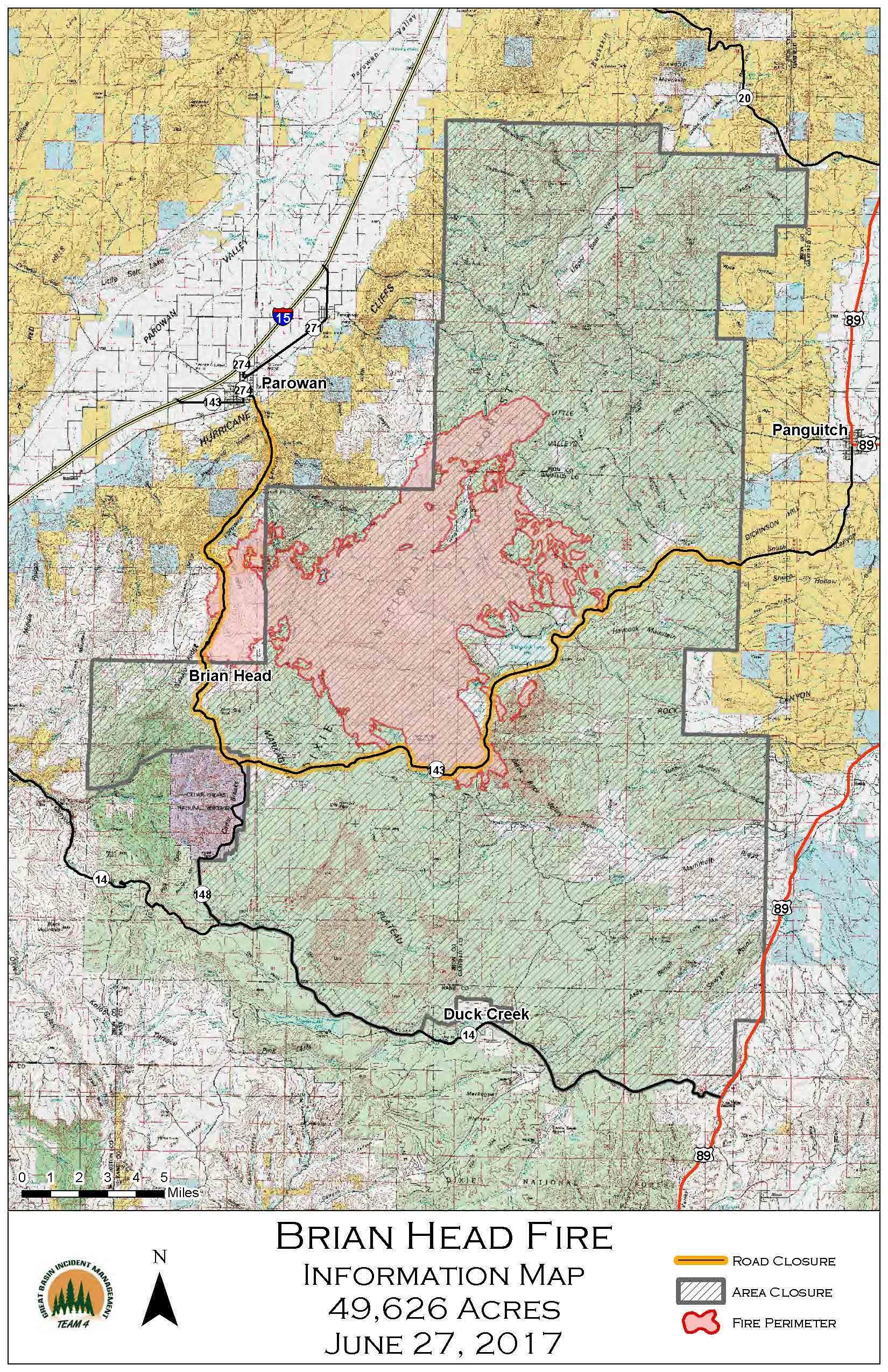 Brian Head Fire Spreads To Nearly Acres Overnight St - Cedar fire map