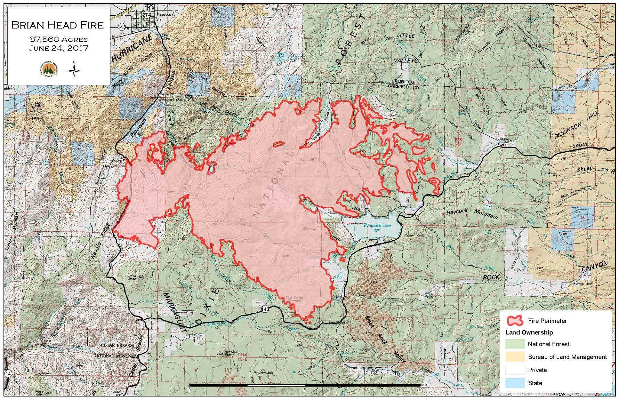 Brian Head Fire Grows To Over  Acres  St George News - Us national forest fire map