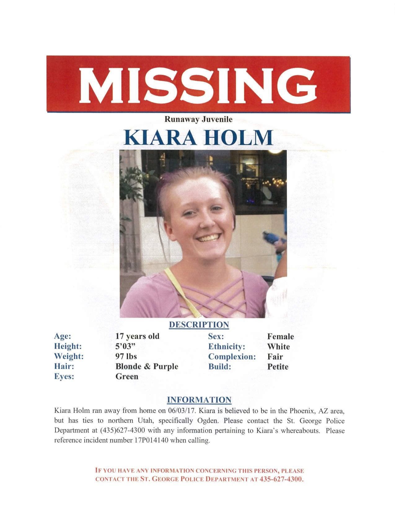Missing 17 Year Old Boy: FOUND: 17-year-old Kiara Holm