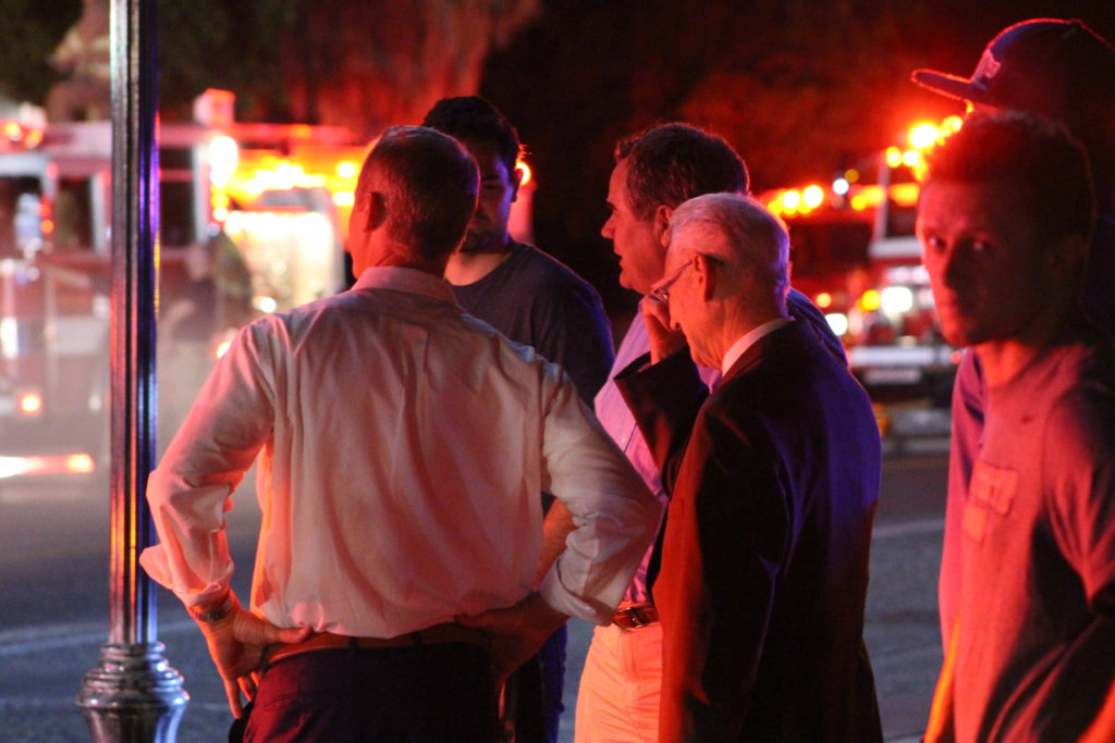 Fire destroys historic building on tabernacle st george news mayor jon pike speaks with randy wilkinson the buildings owner and president of wilkinsons house of lighting after fire destroys the structure wednesday aloadofball Choice Image
