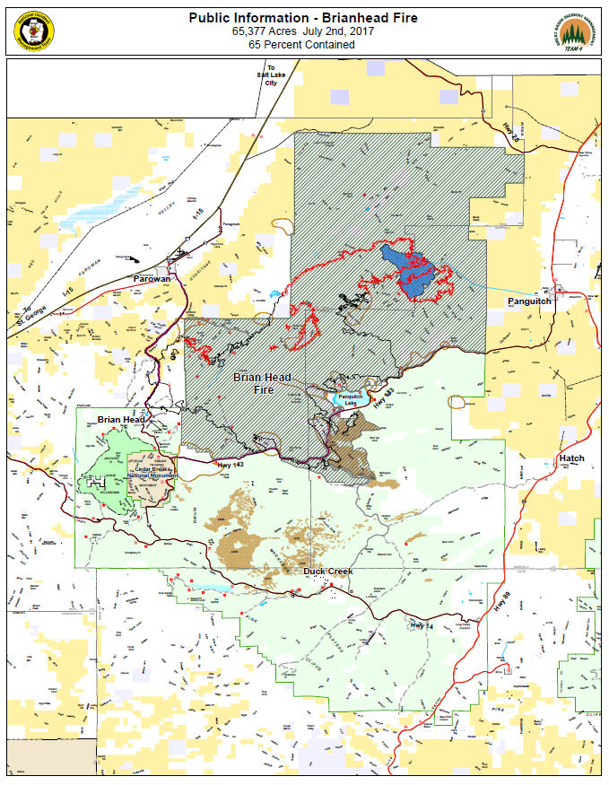 Containment Progress Continues On Brian Head Fire Panguitch Lake - Cedar fire map